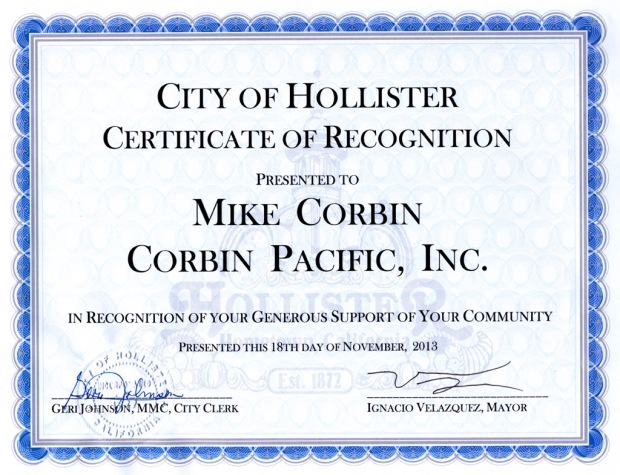 Corbin Pacific Receives Certificate of Recognition
